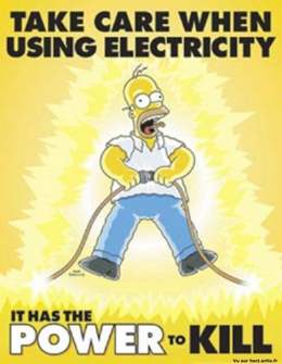 Homer attention électricité humour Simpson